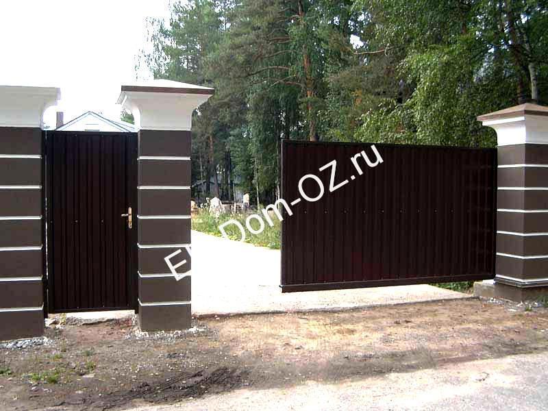 Откатные ворота из2х частей ворота из профнастила фото цена в украине
