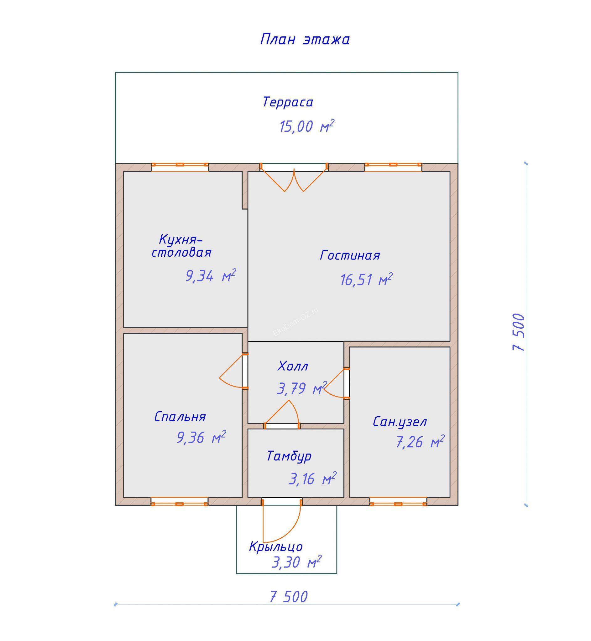 план этажа дом 75 м2
